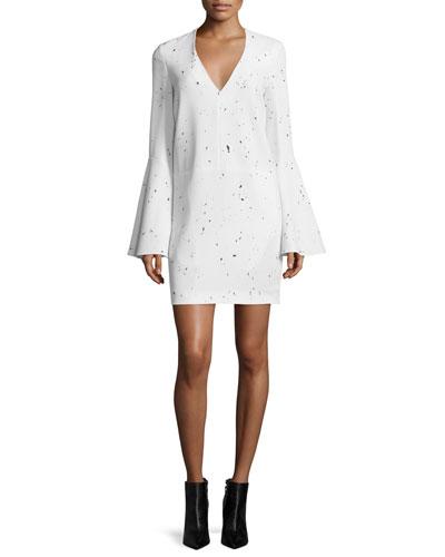 Jackson Bell-Sleeve Sheath Dress, Black/White