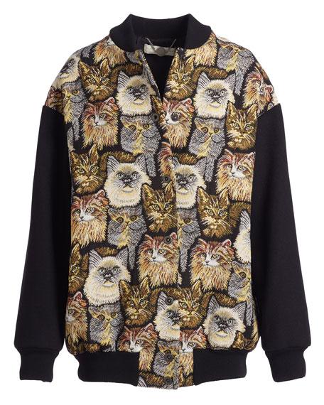Cat-Embroidered Bomber Jacket, Black