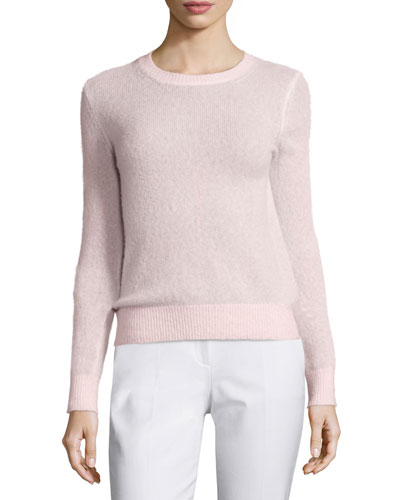 Long-Sleeve Jewel-Neck Sweater, Blush