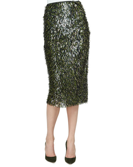 Lela Rose Fringe Embellished Pencil Skirt, Olive/Gold