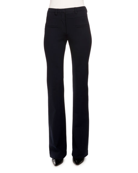 Altuzarra Serge Zip-Front Flare-Leg Pants, Navy