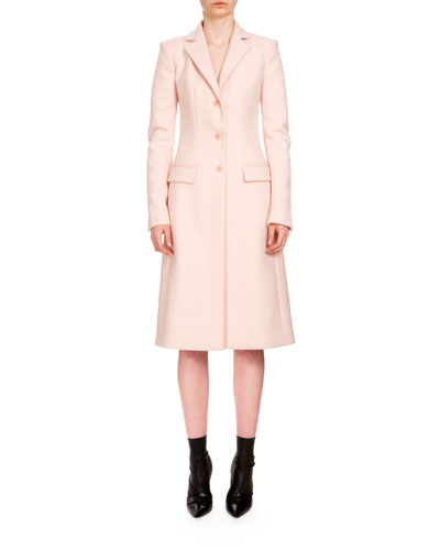 Gardner Button-Front Long Coat, Blush