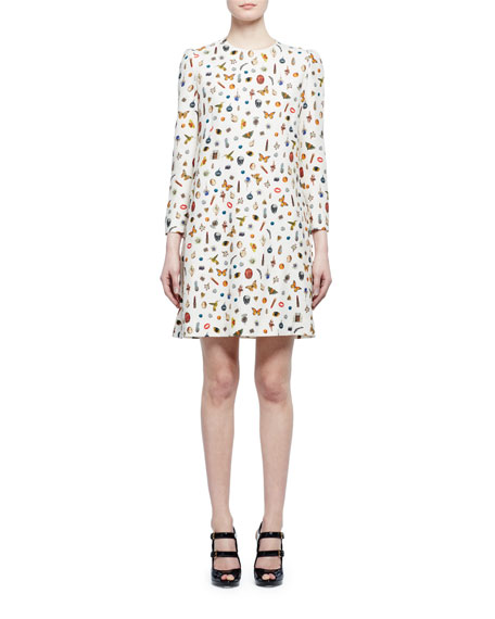 Alexander McQueen Obsession-Print 3/4-Sleeve Shift Dress, Ivory Mix