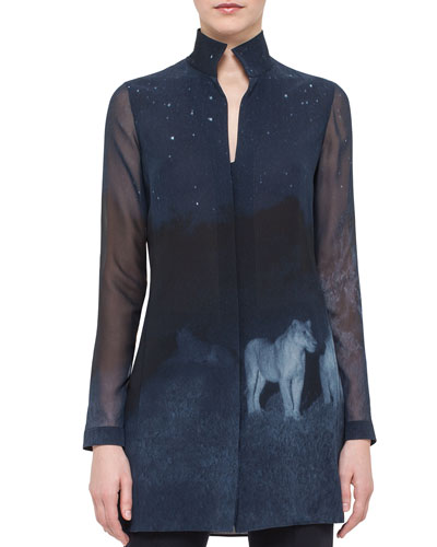 Night Lion-Print Silk Tunic, Starling