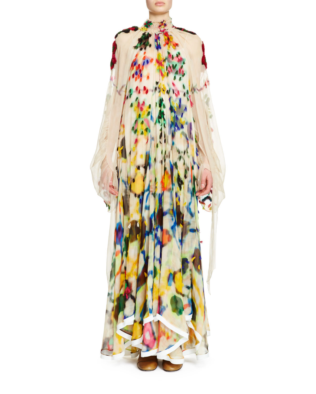 3a50fd4bad Long-Sleeve Mock-Neck Inkblot Maxi Dress, Multi Colors