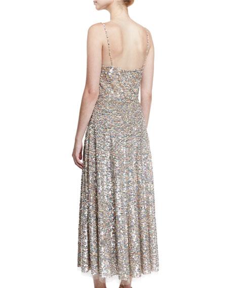 Sequined Wrap-Bodice Slip Dress, Praline