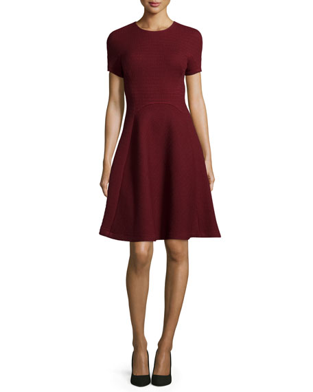 Lela Rose Short-Sleeve Seamed Picot-Knit Dress, Crimson