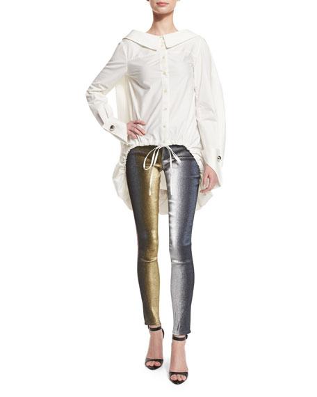Metallic Slim-Leg Jeans, Multicolor