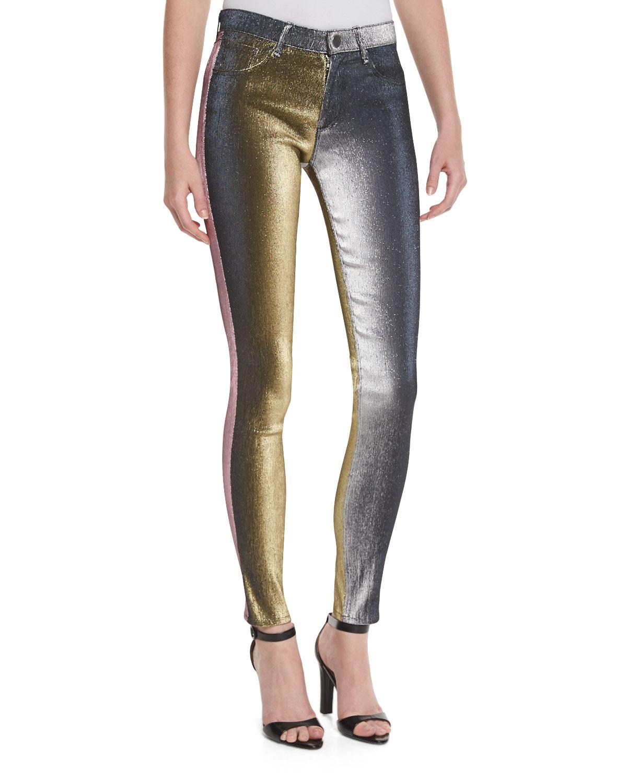 b5cc3f82413b4a Monse Metallic Slim-Leg Jeans, Multicolor | Neiman Marcus