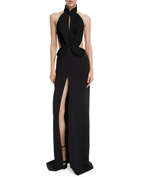 Brandon Maxwell Sleeveless Cutout Tuxedo Gown Black