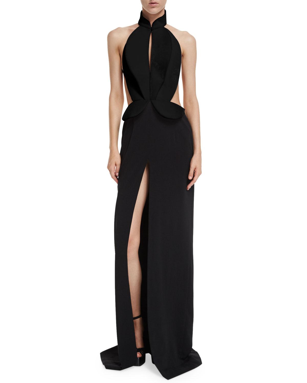 Brandon Maxwell Sleeveless Cutout Tuxedo Gown, Black   Neiman Marcus