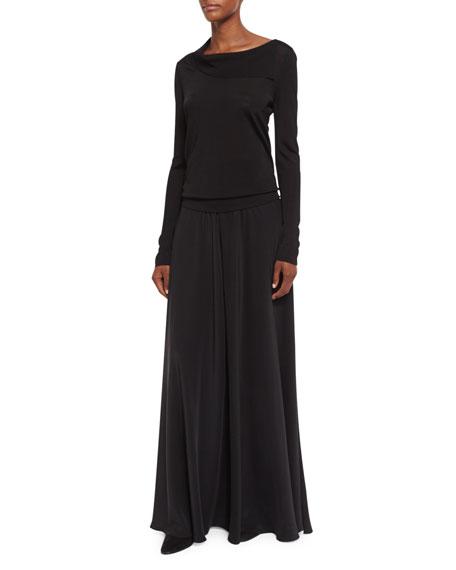 Anissa Silk Palazzo Pants, Black