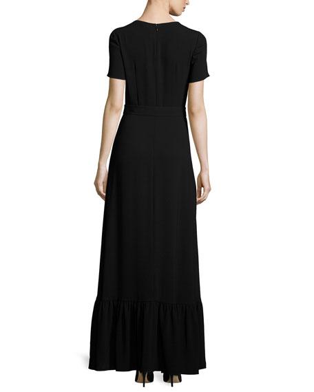 Detachable-Cape Belted Gown, Black