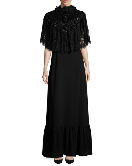 Co Detachable-Cape Belted Gown, Black
