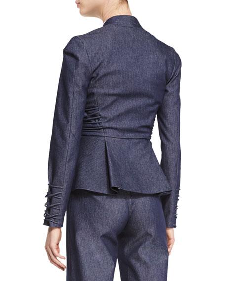 Lace-Up Trim Peplum Jacket, Denim