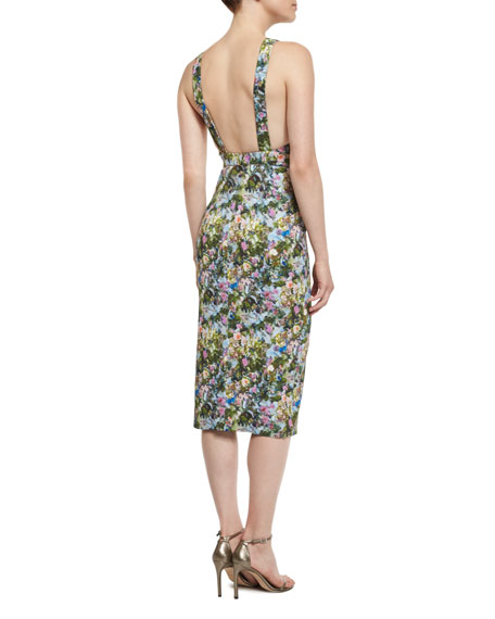 Floral Open-Back Sleeveless Dress, Floral