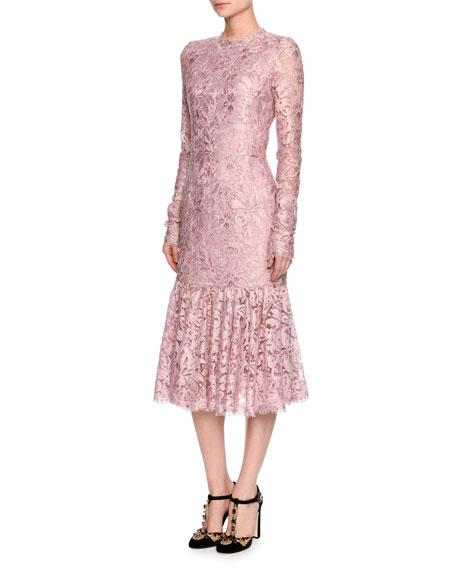 Long-Sleeve Lace Flounce-Hem Dress, Light Pink