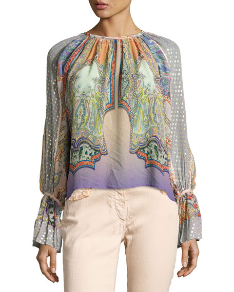 Etro Paisley Flocked Peasant Blouse, Lilac/Peach