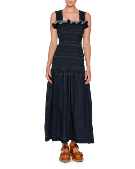 Stella McCartney Sleeveless Smocked Denim Maxi Dress, Dark