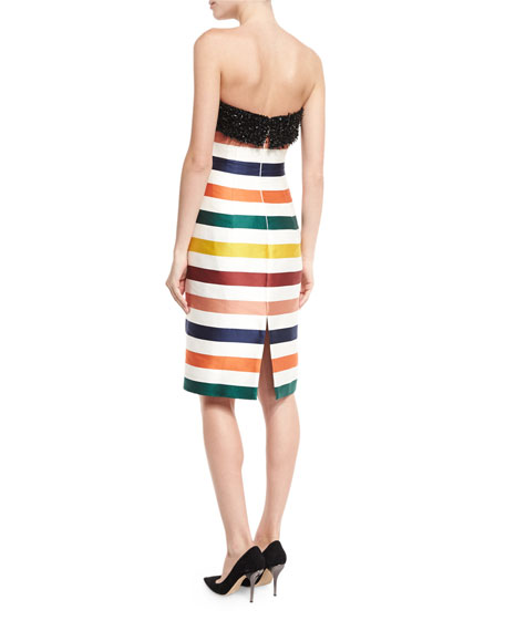 Strapless Striped Beaded Cocktail Dress, Multicolor