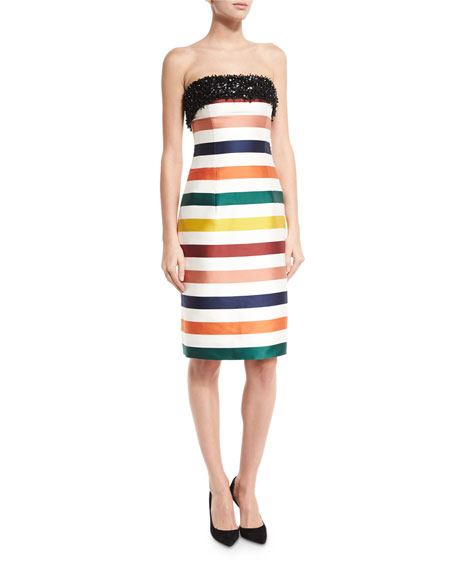 Carolina Herrera Strapless Striped Beaded Cocktail Dress,