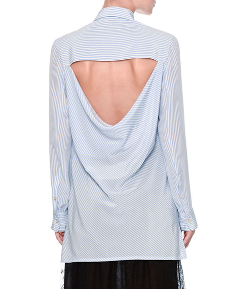 Striped Draped-Back Blouse, Blue/Multi