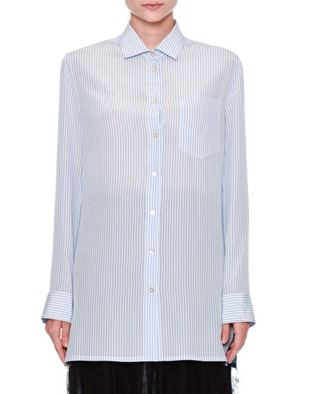 Valentino Striped Draped-Back Blouse, Blue/Multi