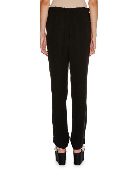 Tie-Waist Straight-Leg Pants, Black