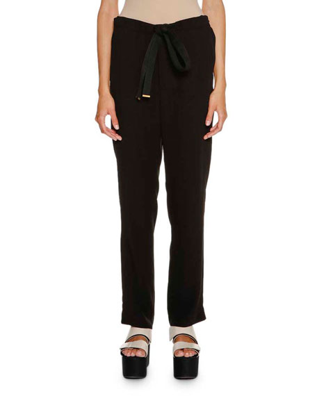 Marni Tie-Waist Straight-Leg Pants, Black