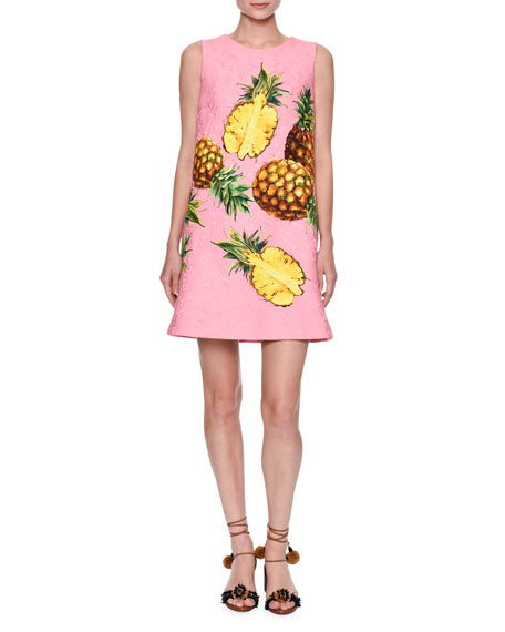 Pineapple-Print Sleeveless Shift Dress, Bright Pink/Yellow