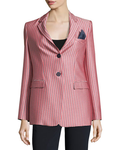 Geometric-Jacquard One-Button Jacket, Red/Multi