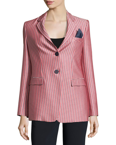 Armani Collezioni Geometric-Jacquard One-Button Jacket, Red/Multi