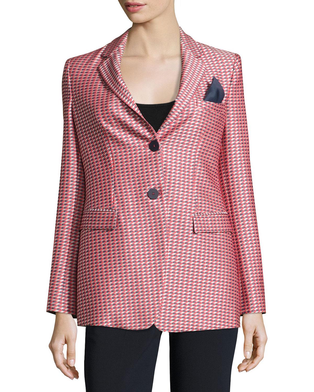 08be18f6e46 Armani Collezioni Geometric-Jacquard One-Button Jacket