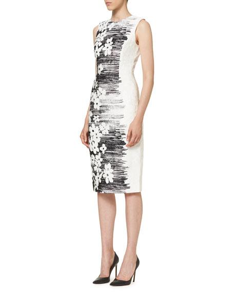 Sleeveless Floral Sheath Dress, Black/White