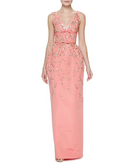 Carolina Herrera Floral-Embellished Sleeveless V-Neck Gown, Shell