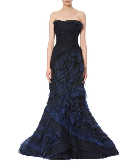Carolina Herrera Strapless Ombre Ruffled Gown, Navy