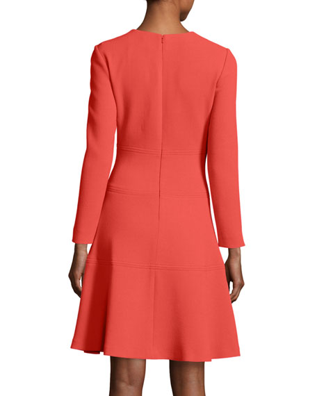 Seamed Long-Sleeve A-Line Dress, Coral