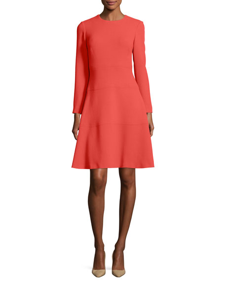 Lela Rose Seamed Long-Sleeve A-Line Dress, Coral