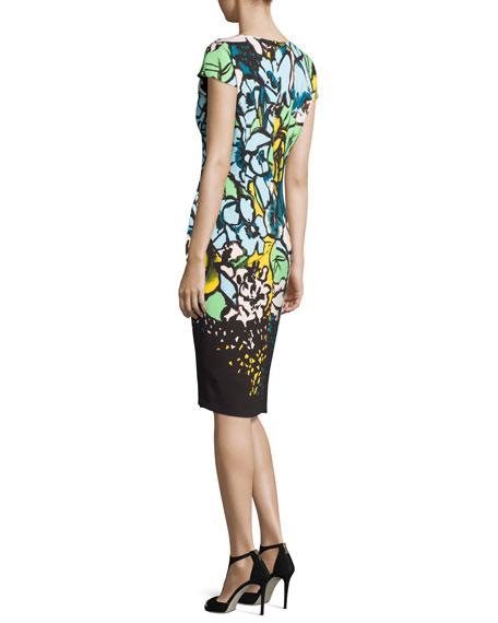 Floral Cap-Sleeve Sheath Dress, Fantasy
