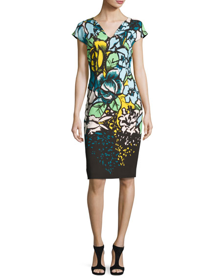Escada Floral Cap-Sleeve Sheath Dress, Fantasy