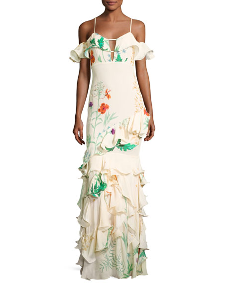 La Santa Maria Ruffled Floral Gown, White