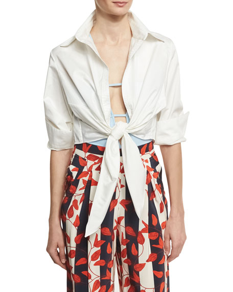 Johanna Ortiz Victory Tie-Front Blouse & Bodysuit, White