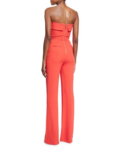 Strapless Wide-Leg Jumpsuit, Tangerine