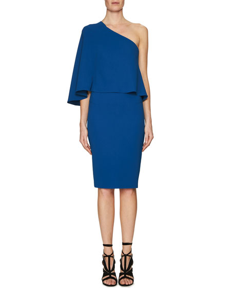 Roland Mouret Flutter One-Shoulder Popover Dress, Blue