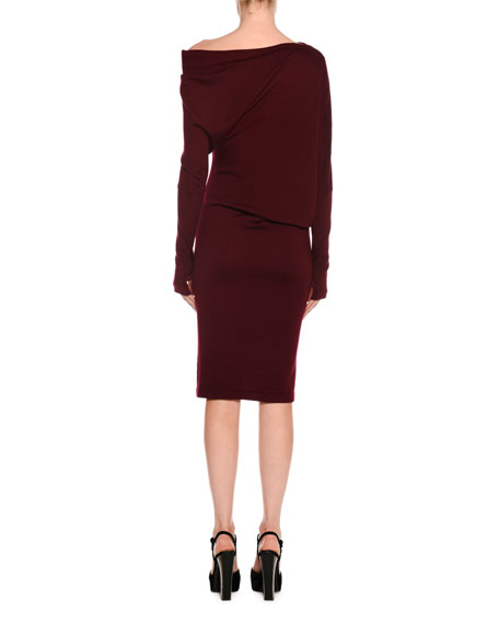 Draped Off-the-Shoulder Knit Dress
