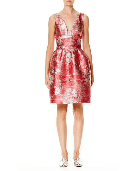 Sleeveless V-Neck Jacquard Cocktail Dress, Red/Multi