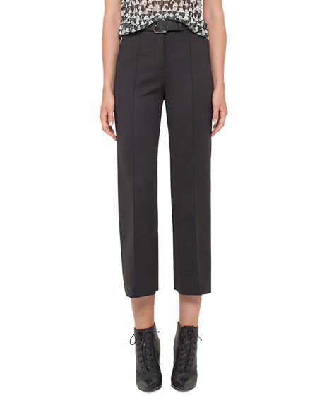 Akris Cara Straight-Leg Cropped Pants, Black
