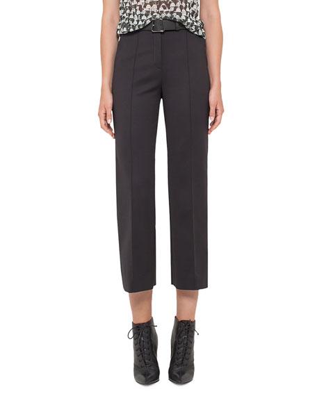 Akris Ai-Print Cap-Sleeve Blouse, Black/Cremello and Matching