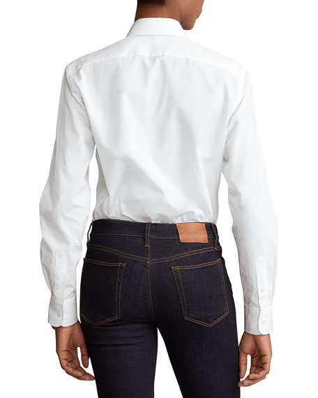 Image 2 of 2: Ralph Lauren Collection High-Low Cotton Boyfriend Blouse, White