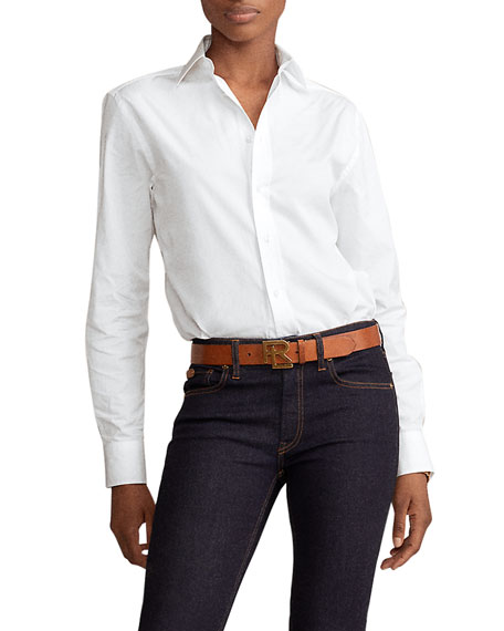 Image 1 of 2: Ralph Lauren Collection High-Low Cotton Boyfriend Blouse, White